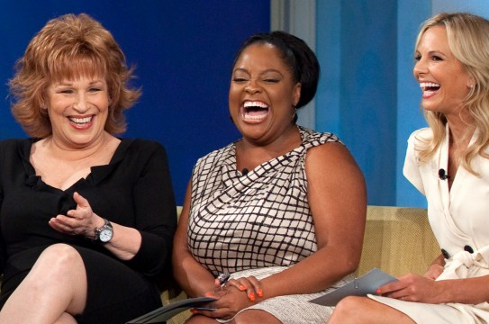 President Barack Obama records an episode of The View at ABC Studios in New York, N.Y., July 28, 2010. Pictured, from left, are Whoopi Goldberg, Barbara Walters, Joy Behar, Sherri Shepherd, and Elisabeth Hasselbeck. (Official White House Photo by Pete Souza)  This official White House photograph is being made available only for publication by news organizations and/or for personal use printing by the subject(s) of the photograph. The photograph may not be manipulated in any way and may not be used in commercial or political materials, advertisements, emails, products, promotions that in any way suggests approval or endorsement of the President, the First Family, or the White House.